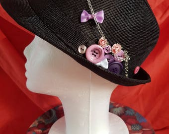 One off black trilby hat chains purple buttons buttons (34)