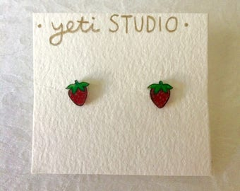 Teeny Tiny Strawberry Stud Earrings