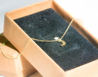 Dainty/14k gold plated necklace/delicate jewelry/moon and star/14k gold plated/minimalist necklace/tiny gold necklace/valentine gift/for her