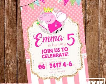 Peppa Pig Invitation, Peppa Pig Birthday Invitation, Peppa Pig Printable Invitation, Peppa Pig Printable Party, Peppa Pig Birthday Card