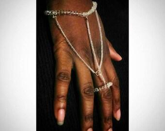 Clear Beaded Handchain Bracelet