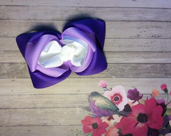 Purple Hair Bow, Purple Bow, Valentines Day Hair Bow, Purple Easter Bow, Little Girls Purple Hair Bow, Large purple Bow, Triple Layer Bow