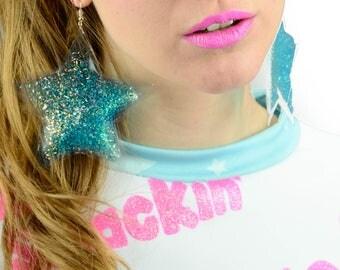 Liquid Glitter Goo Earrings - Stars