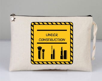 Cosmetic Bags, Cotton Clutch, Printed Clutch, Cotton Bags, Under Construction, Under Construction svg, Makeup Bag , Yellow Bag
