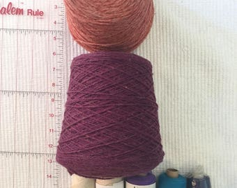 Two huge cones of yarn for machine or hand use, plus smaller spools for hand weaving