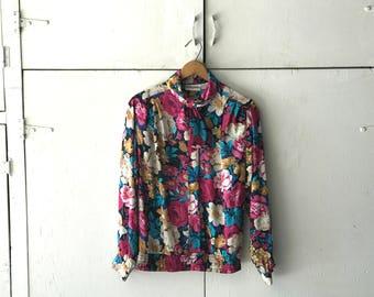 1980's Vintage Alfred Dunner Floral Blouse | Women's Floral Blouse | 70s Floral Shirt | Long Sleeve Top