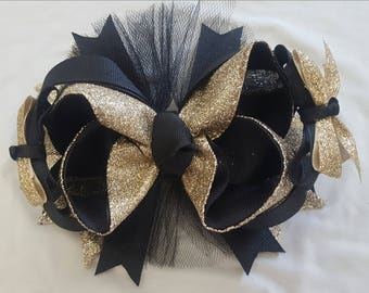 5 inch gros grain ribbon in black and gold glitter