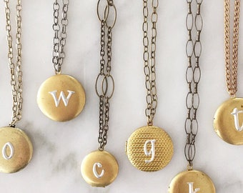 Vintage Inspired brass initial locket necklace