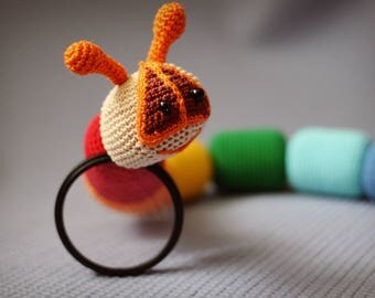 Educational toys Rainbow snake Caterpillar Rainbow toy Rainbow crochet toy Rattles toy Baby rattle Crochet amigurumi Educational baby