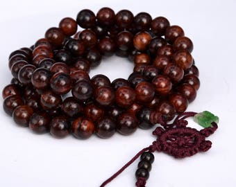 "108 Pcs - 10MM Mahogany Red Sandalwood Mala Beads Natural Wood Round Beads 43"" (80022)"