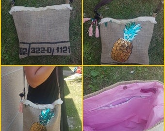 Recycled burlap bag.