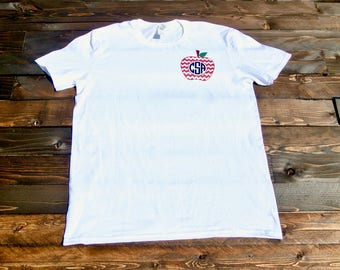 Teacher personalized monogram t-shirt