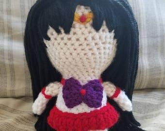 Sailor Moon Inspired Amigurumi- Sailor Mars (Rei Hino)- MADE TO ORDER