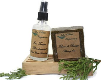 Vegan shaving set - bar shaving Ayurvedic herbal tonic soothing aftershave sandalwood floral water