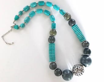 Gray & Turquoise Bead Necklace