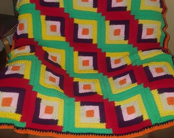 Multi-color crochet throw