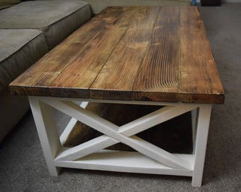 Attractive Wooden Coffee Table, Farmhouse Table, Country Style Coffee Table