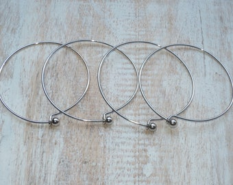 Rhodium Plated Wire Hook Bangle Bracelet Charm Bangle