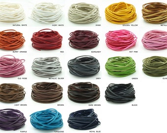 3MM x 1.5MM One Side PU Leather Covered Faux Suede Cord Lace Bracelet Necklace Making String - You Pick Color!