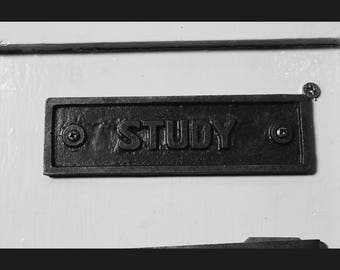 Cast Iron  'Study'  Plaque Great Rustic Sign 45mm x 152mm
