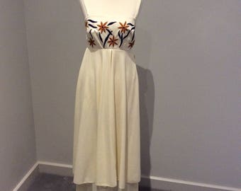 Vintage 1970's Carnegie of London cream maxi dress and stole