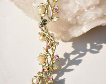 Vintage Pink Rhinestone & Pearl Gold Tone Bracelet