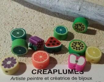 Set of 20 beads polymer clay handmade fruit 7 / 12 x 8mm 10 × 4 / 5mm