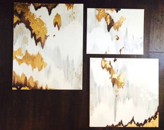 ORIGINAL canvas painting neutral gold modern art with gold leafing