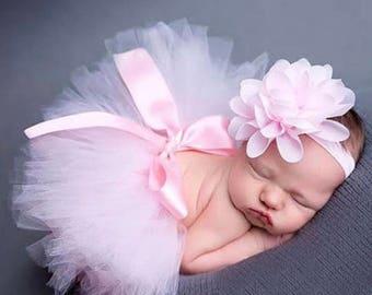 Pink or Purple Newborn Tutu & Flower Headband