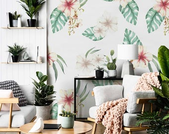 Removable wallpaper - Hawaiian Flowers Wallpaper - Tropical Wallpaper - Leaves Wallpaper - Palm Leaves - Wall mural - Wall Decor