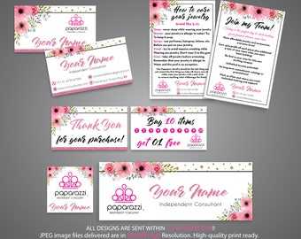 Paparazzi Starter Bundle, Paparazzi Kit, Pink Glitter Card, Floral cards, Paparazzi cards, Free Personalization, Printable file PP72