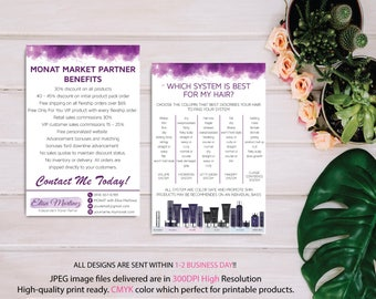 BOTH CARDS, Monat Market Partner Benefits, Monat Systems, Custom Monat Hair Care Card, Fast Free Personalization, Monat Business Cards MN07