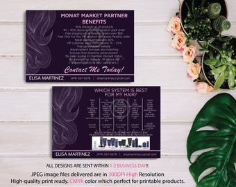 BOTH CARDS, Monat Market Partner Benefits, Monat Systems, Custom Monat Hair Care Card, Fast Free Personalization, Monat Business Cards MN08