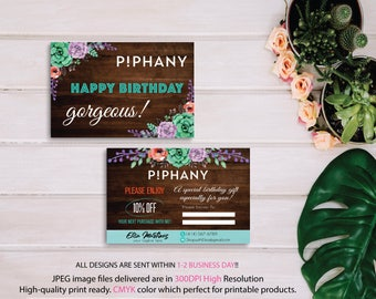 Piphany Birthday Cards, Piphany Birthday Discount, Floral Flower Cards, Custom Piphany Marketing Card, Printable Card - PERSONALIZED TP06
