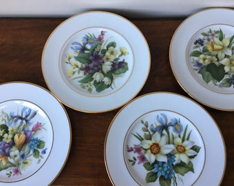 4 vintage porcelain display plates of Spring flowers