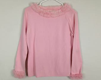 Pink fur trim long sleeve shirt