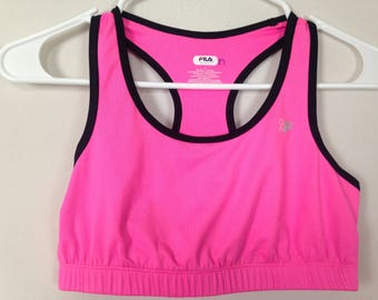 Hot pink with black trim sports bra size S