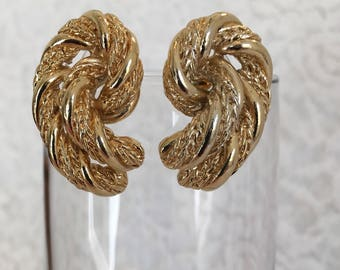 Coiled Braided Rope Gold Tone Pierced Vintage Earrings