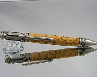 Handcrafted Ink Pen In Venetian Gothic Style With Antique Pewter And Masur  Birch Wood