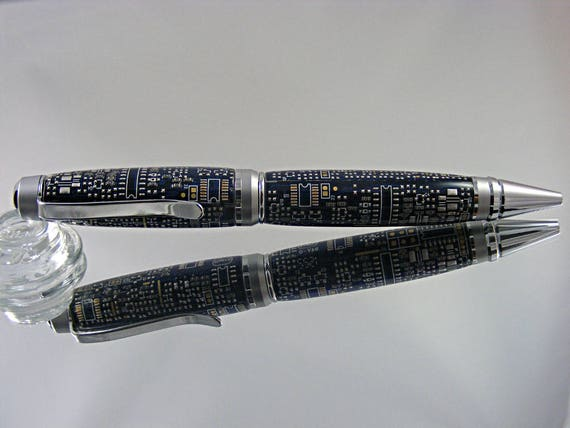 Handcrafted Cigar Pen in Chrome and Satin with Navy Blue Circuit Board