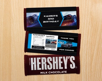 Personalized Jackson Storm Cars 3 Hershey's Chocolate Bar Wrapper Favor Labels Candy Bar Favors Birthday Party Printable DIY - Digital File
