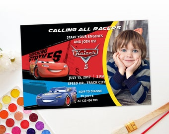 Personalized Cars 3 Birthday Party Photo Card Blue Lightning Mcqueen Fabulous Invitation Printable Invite DIY - Digital File