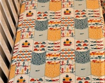 Nautical Whole Cloth cot quilt