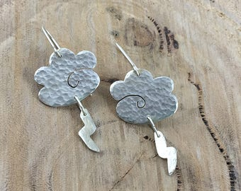 925 Silver Clouds and Lightning Textured Dangle Earrings