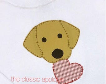 lab dog with Valentine's heart satin stitch and blanket stitch applique embroidery design