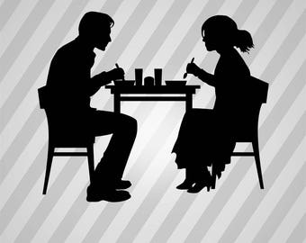 couple in a restaurant Silhouette - Svg Dxf Eps Silhouette Rld RDWorks Pdf Png AI Files Digital Cut Vector File Svg File Cricut Laser Cut