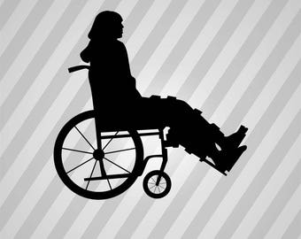 person in wheelchair Silhouette - Svg Dxf Eps Silhouette Rld RDWorks Pdf Png AI Files Digital Cut Vector File Svg File Cricut Laser Cut