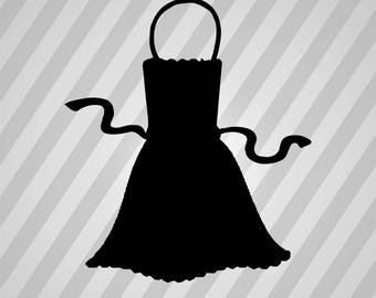 Apron Silhouette -  Svg Dxf Eps Rld Rdworks Pdf Png Ai Files Digital Cut Vector File Svg File Cricut Laser Cut