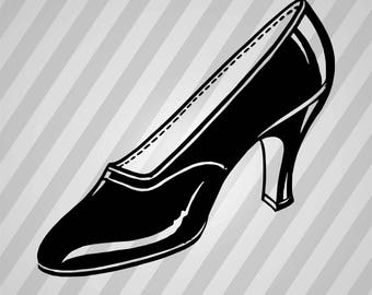 Black Shoe - Svg Dxf Eps Silhouette Rld Rdworks Pdf Png Ai Files Digital Cut Vector File Svg File Cricut Laser Cut