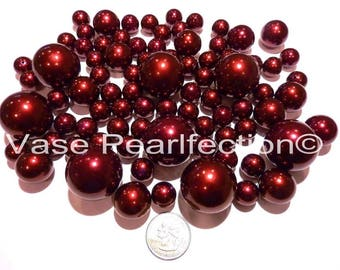All Burgundy Pearls/Red Wine Pearls Vase Fillers in Jumbo & Assorted Sizes for Centerpieces and Tablescapes
